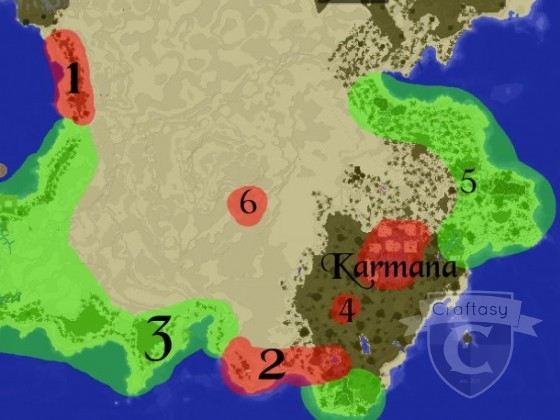 Karte des Südens Quadesh mit Fokus auf die damaligen Unternehmen